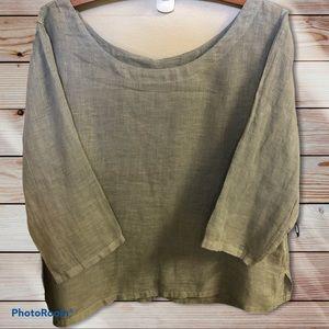 Kleen Light Gray Linen Cropped 3/4 Sleeve Top